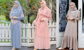 10 Inspirasi Gamis Bernuansa Pastel ala Adelia Pasha yang Bikin Adem